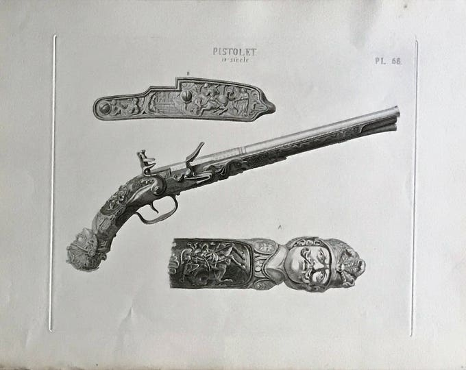 S XVII pistol Engraving by David van der Kellen Jr. (1827-1895).