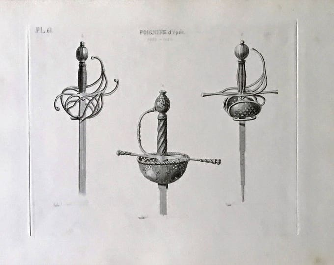 Engraved Medieval dagger handles by David van der Kellen Jr. (1827-1895).