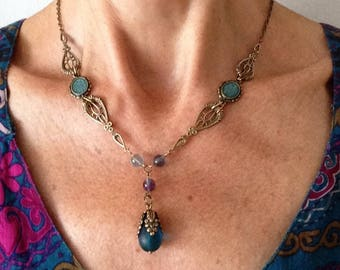 Baroque necklace peacock blue frosted glass drop pendant