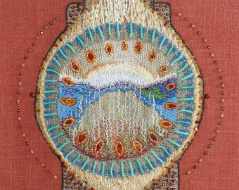 "Embroidered mandala ""Unity"" - Art Textile panels"