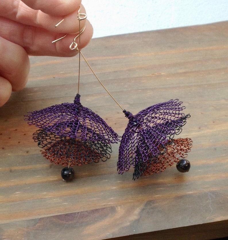 knitted copper yarn Women/'s pendant earrings 14-karat gold hooks gift idea