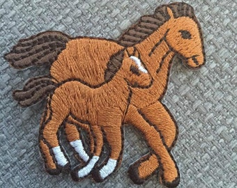 Horses Embroidered Sew on or Iron on Patch Horse Mare Foal Equestrian