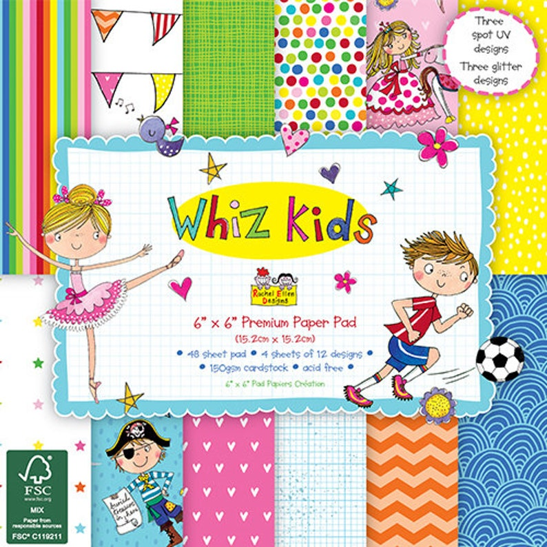 Dovecraft WHIZ KIDS 6x6 inches Scrapbooking Paper Sample Full Pack