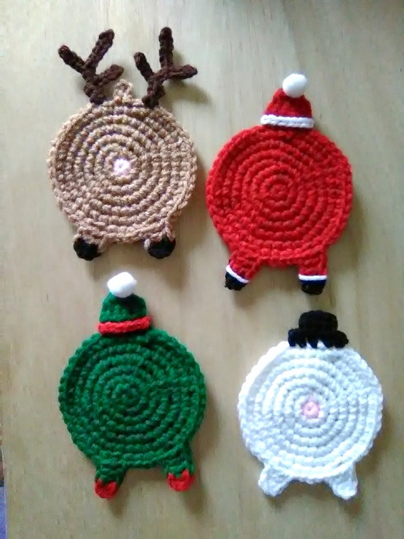 Christmas Coasters Crochet Christmas Coasters Santa Etsy