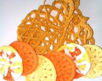 face scrubbies, crochet face scrubbies, crochet scrubbies, crochet face scrubbers, crochet make-up remover pads, crochet wash bag