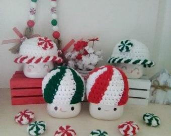 Crochet peppermint or spearmint marshmallow mug hats, mug topper, Christmas decor, peppermint tiered tray decor, Christmas marshmallow hat