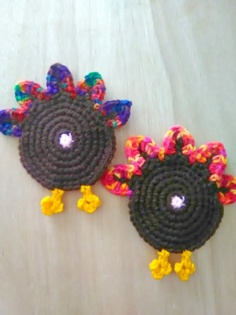 Turkey butt coasters, crochet turkey butt coasters, crochet turkey butt,  crochet coasters, funny coasters, Thanksgiving day table decor
