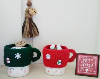 Crochet hot cocoa marshmallow mug hat, milk and cookies mug hat, tiered tray decor, winter tier tray, Christmas, Santa, hot chocolate