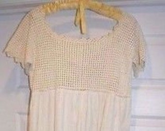 Vintage Hand Crochet Lace & Cotton Dress Night Gown M