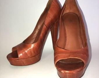 dd00193555b YSL Yves Saint Laurent Orange Eelskin Platform Pumps Heels 36.5 /6.5