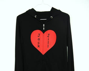 Heart shape with customized name zip up hoodie (One of a Kind, Custom made, Handmade, Homemade)