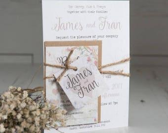 45 X Shabby Chic Wedding Invitation