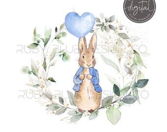 Digital Download Printable Peter /& Flopsy Rabbit Birthday Balloon PNG Bundle numbers 1-9 Peter Rabbit Balloon Bunting Design Card Tag