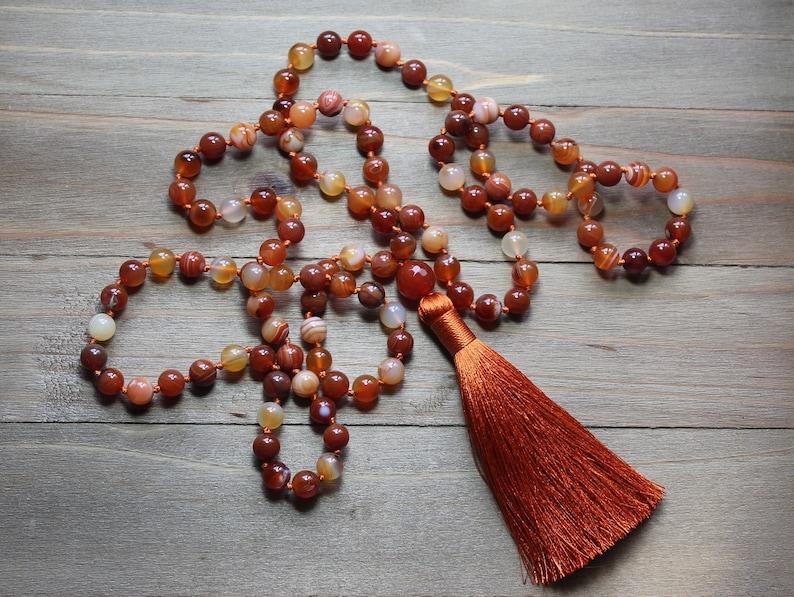 Mala Tassel Necklace Botswana Agate Mala Orange Bead Necklace Mala Beads 108 Prayer Beads Orange Tassel Necklace Long Tassel Necklace