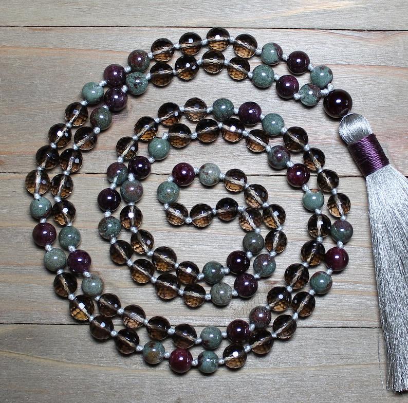 Phantom Quartz Quartz Necklace Long Mala Beads Quartz Mala 108 Quartz Mala Gifts for Anxiety Meditation Gifts Yoga Jewelry for Women