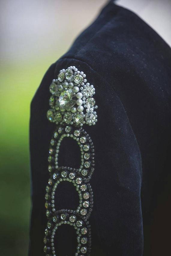 Thea porter Designer evening dress black velvet U… - image 5