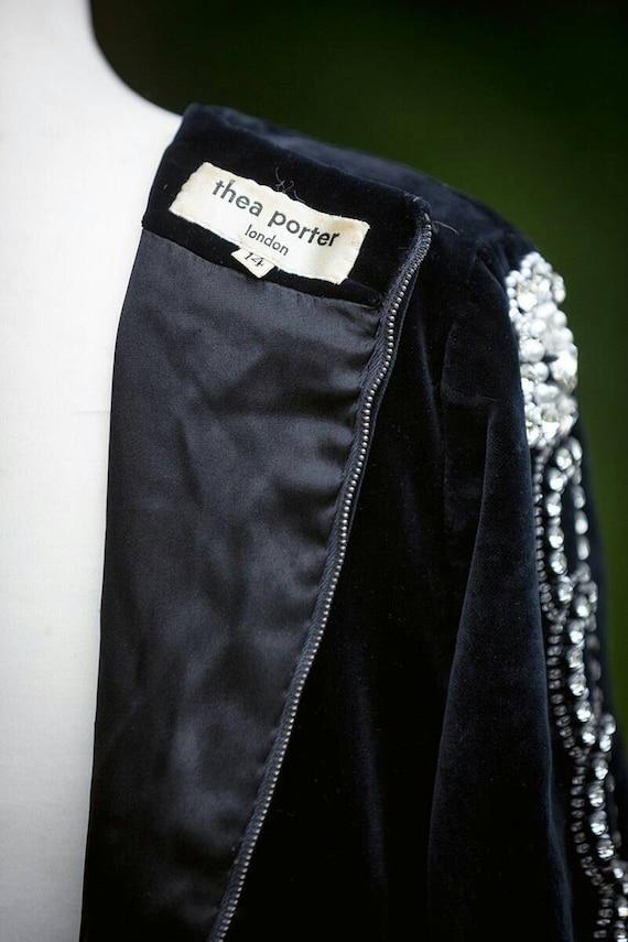 Thea porter Designer evening dress black velvet U… - image 4