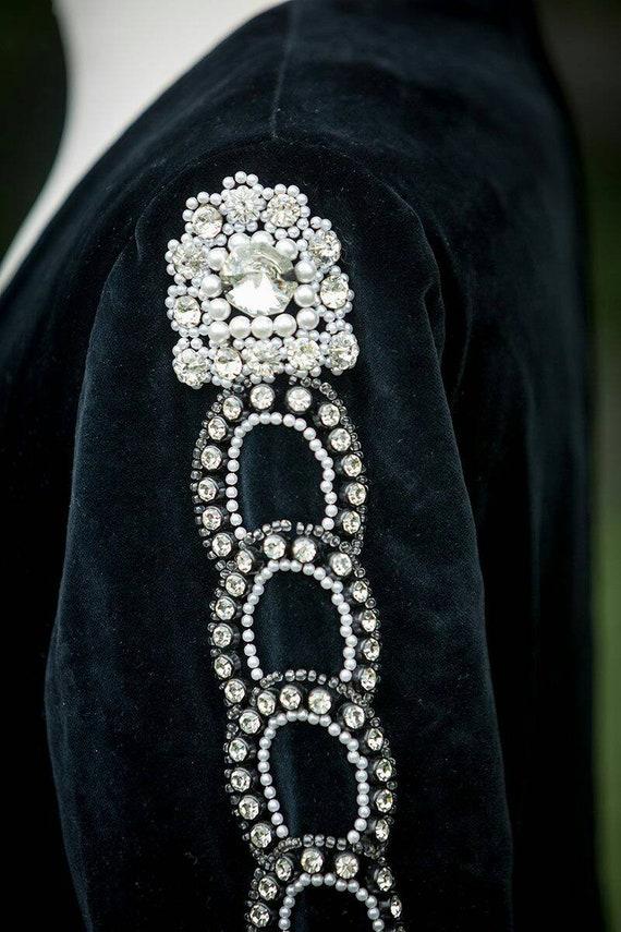 Thea porter Designer evening dress black velvet U… - image 8