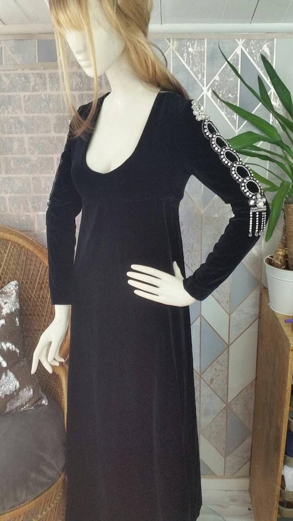 Thea porter Designer evening dress black velvet U… - image 1