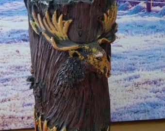 Vintage wooden vase, Home and decor vase, animal vase, Brown vase, deer ornament, vintage vase, hand made vase, old vase, dear figurine