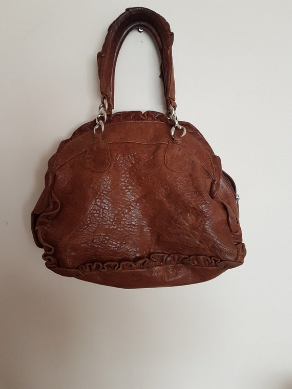 Treesje, Brown leather bag, women leather bag, han