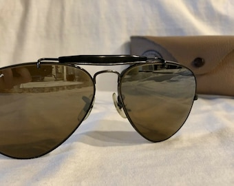 10dc383a49 Vintage B L Bausch and Lomb Ray-Ban B15 Black Wrap-Arounds Outdoorsman  Aviator Sunglasses 58mm