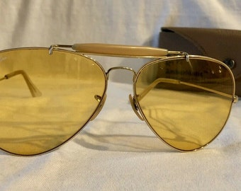 3dc80a5b726 Vintage Gold Plated Ray Ban Bausch and Lomb B L Ambermatic Changeables  Outdoorsman Aviator Sunglasses - 62mm