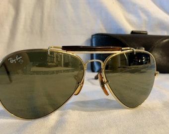 3fe6aa1e4f Vintage Ray Ban USA Bausch Lomb Aviator Outdoorsman 58mm Diamond Hard  Tortuga