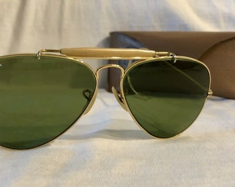 0adb374fad3 Vintage BL Bausch   Lomb Ray Ban Gold Plated RB3 True Green Outdoorsman  Aviator Sunglasses - 58mm