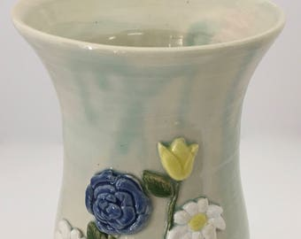 Large Handmade Pottery Ceramic Vase With Blue and Yellow Flowers Handmade Gift
