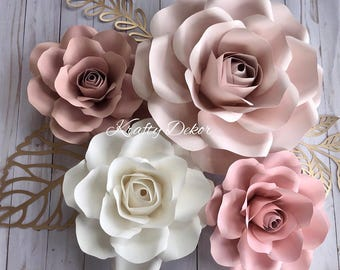 Paper flower decor etsy 4 piece paper flower set nursery decor nursery paper flowers mightylinksfo