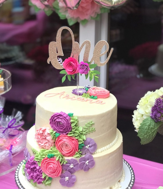 One Year Old Cake Topper Floral