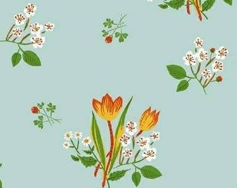 Heather Ross - Spring Blooms in Pale Blue - Kinder - (43482-9) - Quarter, Fat Quarter, 1/2 Yard or Yard++ Cuts