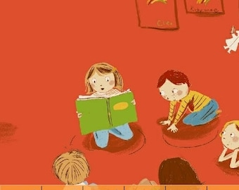 Heather Ross - Kindergarten in Red - Kinder - (43480-2) - Quarter, Fat Quarter, 1/2 Yard or Yard++ Cuts