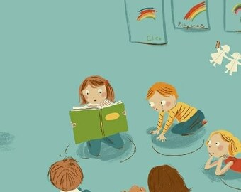 Heather Ross - Kindergarten in Blue- Kinder - (43480-4) - Quarter, Fat Quarter, 1/2 Yard or Yard++ Cuts