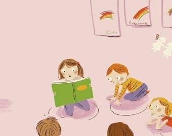 Heather Ross - Kindergarten in Pink - Kinder - (43480-1) - Quarter, Fat Quarter, 1/2 Yard or Yard++ Cuts