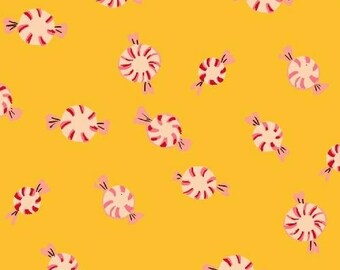 Heather Ross - Sugarplum - Peppermints in Yellow - (50167-7) - Quarter, Fat Quarter, 1/2 Yard or Yard++ Cuts