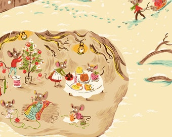 Heather Ross - Sugarplum - Christmas Mice in Cream - (50165-2) - Quarter, Fat Quarter, 1/2 Yard or Yard++ Cuts