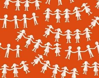 Heather Ross - Paper Dolls in Red - Kinder - (43485-2) - Quarter, Fat Quarter, 1/2 Yard or Yard++ Cuts