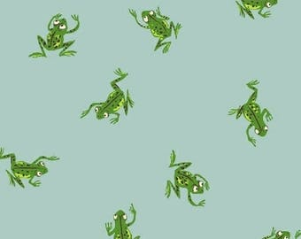 Heather Ross - Frogs in Pale Blue - Kinder - (43484-9) - Quarter, Fat Quarter, 1/2 Yard or Yard++ Cuts