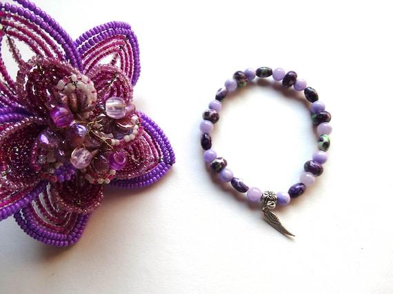 Bracelet élastique mauve violet clair blanc perles pierre jaspe et jade  mauve / idée cadeau femme, Noël, Saint Valentin, fête des mères