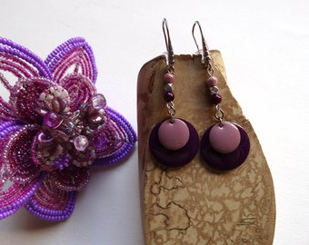 Round earrings sequins enamelled purple mauve lilac pink dangle / gift idea for woman, mother's day, Christmas, Valentine's day