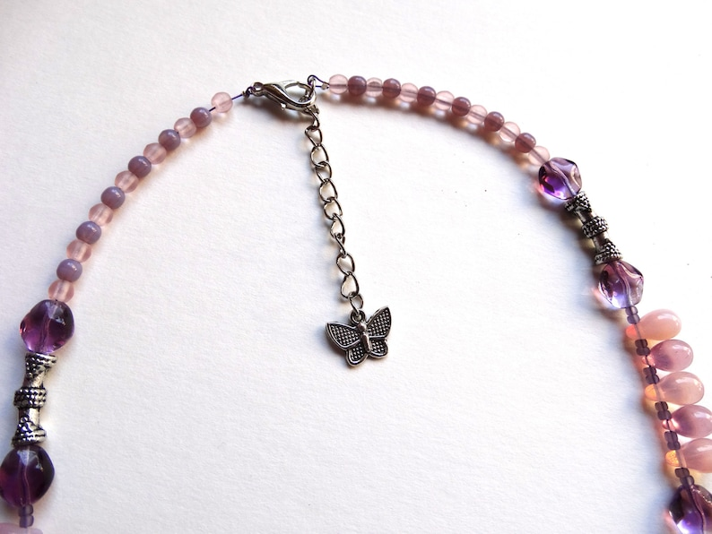 Mother/'s Day Original necklace purple purple purple silver purple Czech beads and Japanese rockery neck Woman gift idea Christmas