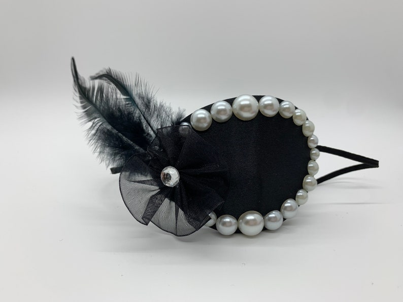 Eye Patch with Black Feather Chiffon Flower and Pearl Embellishment