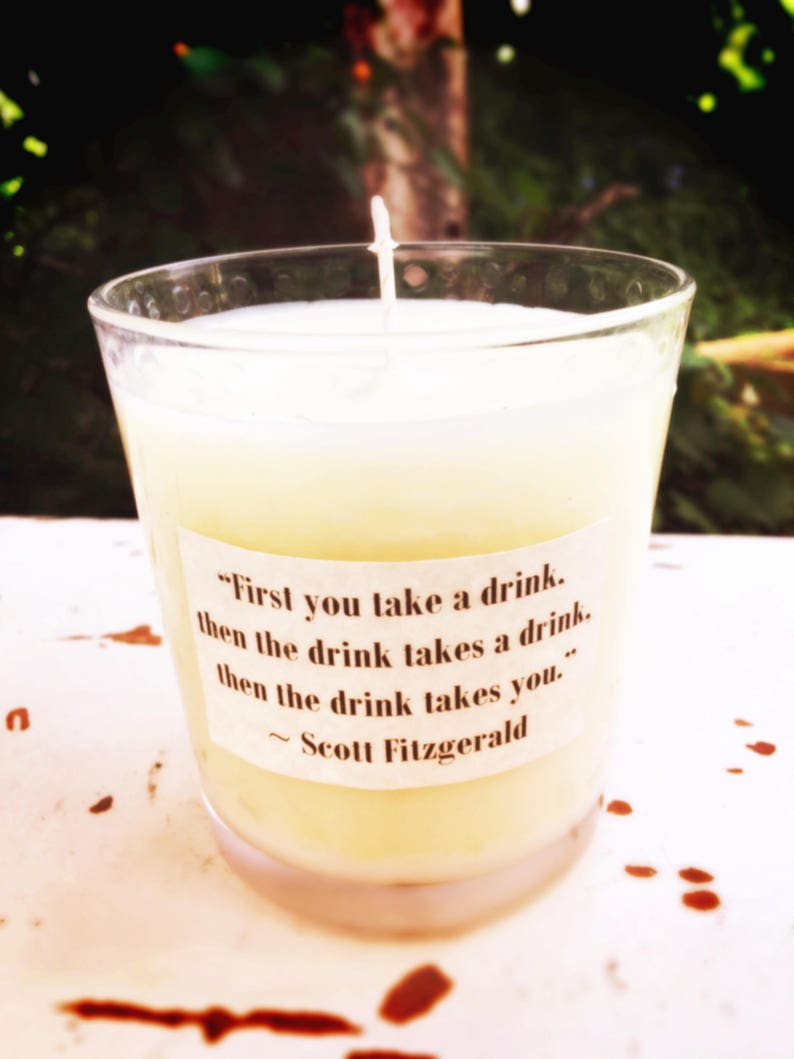 Scott Fitzgerald Drinking Quote Candle, Whiskey & Jazz Scent