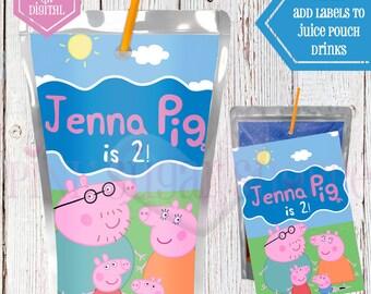 Peppa Pig Juice Pouch Labels - Capri Sun Labels - Peppa Pig Birthday Party - Peppa Pig - Digital - Printable - Printed