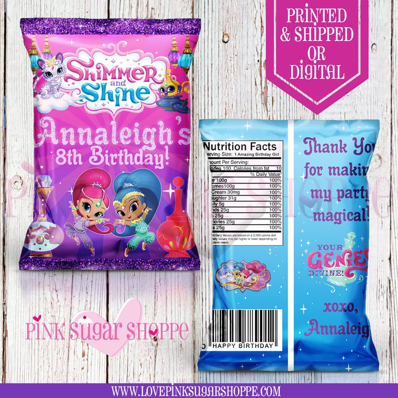 e3e576ab38 Shimmer and Shine Favor Bags Custom Chip Bags Shimmer and