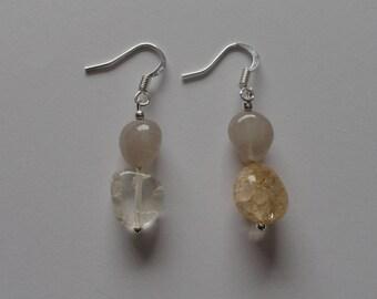 Ice flake quartz & grey agate pendant earrings