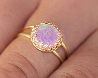 Opal Ring,opal gold ring,Pink opal ring,dainty opal ring,ladies opal Ring,Engagement gold ring,tiny opal ring,opal statement ring