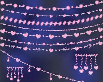 String Lights Clip Art Valentines Clipart Fairy Glowing Wedding Instant Download